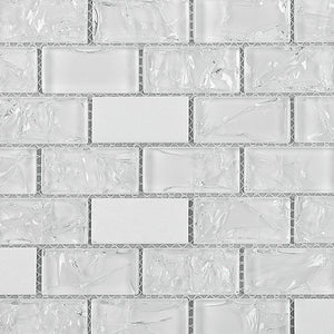 TCESG-01  1x2 Brick Crackled Glass Mosaic Tile in White