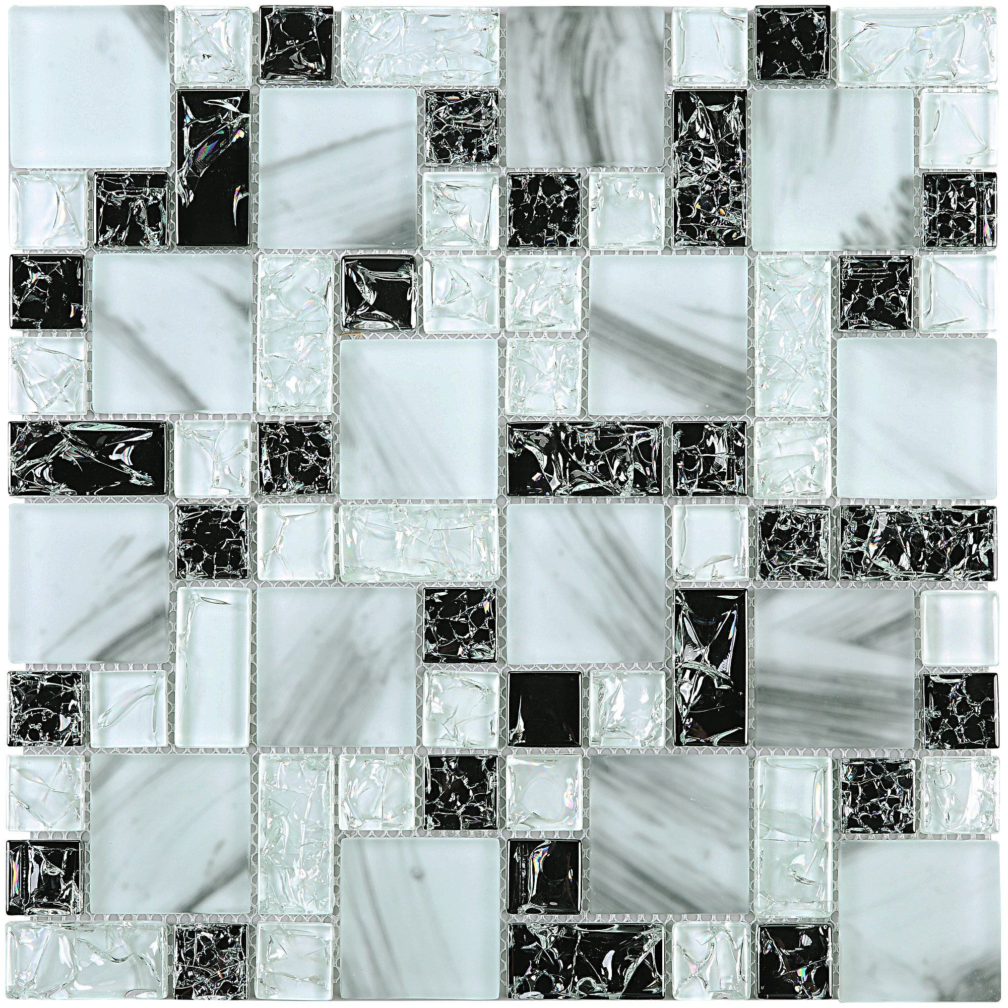 - TCESG-03 Random Square Crackled Glass Mosaic Tile In Black And
