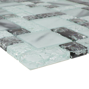 TCESG-03  Random Square Crackled Glass Mosaic Tile in Black and White