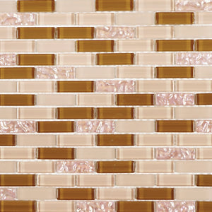 Beige and brown glass mosaic tile backsplash