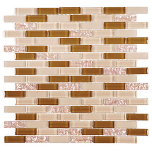 TDG-12 Caramel Brick Glass Mosaic Tile Sheet-Kitchen and bath backsplash wall and floor tile-TILE GENERATION