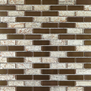 Brown glass and metal mosaic tile