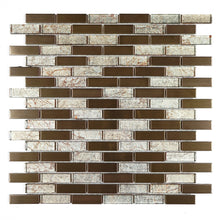 Brown glass and copper mosaic tile