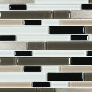 Black and white glass mosaic tile backsplash