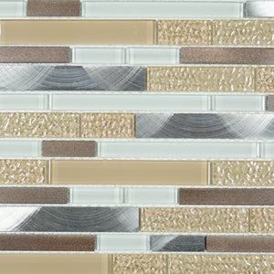 Beige glass and aluminum glass mosaic tile