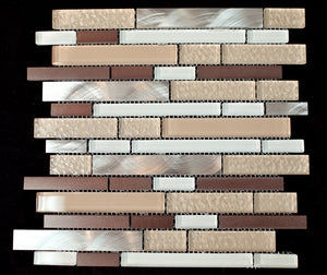 TFBG-05 Mix Color Random Brick Glass Mosaic Tile in Beige & Brown