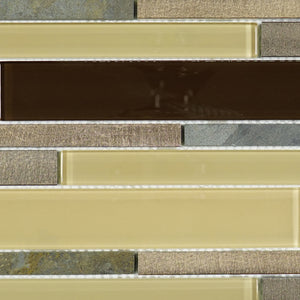 Beige and chocolate glass stone mosaic tile
