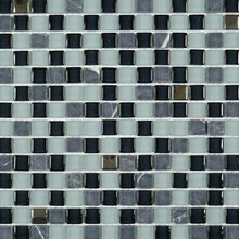 Tiny square mixed green glass mosaic tile