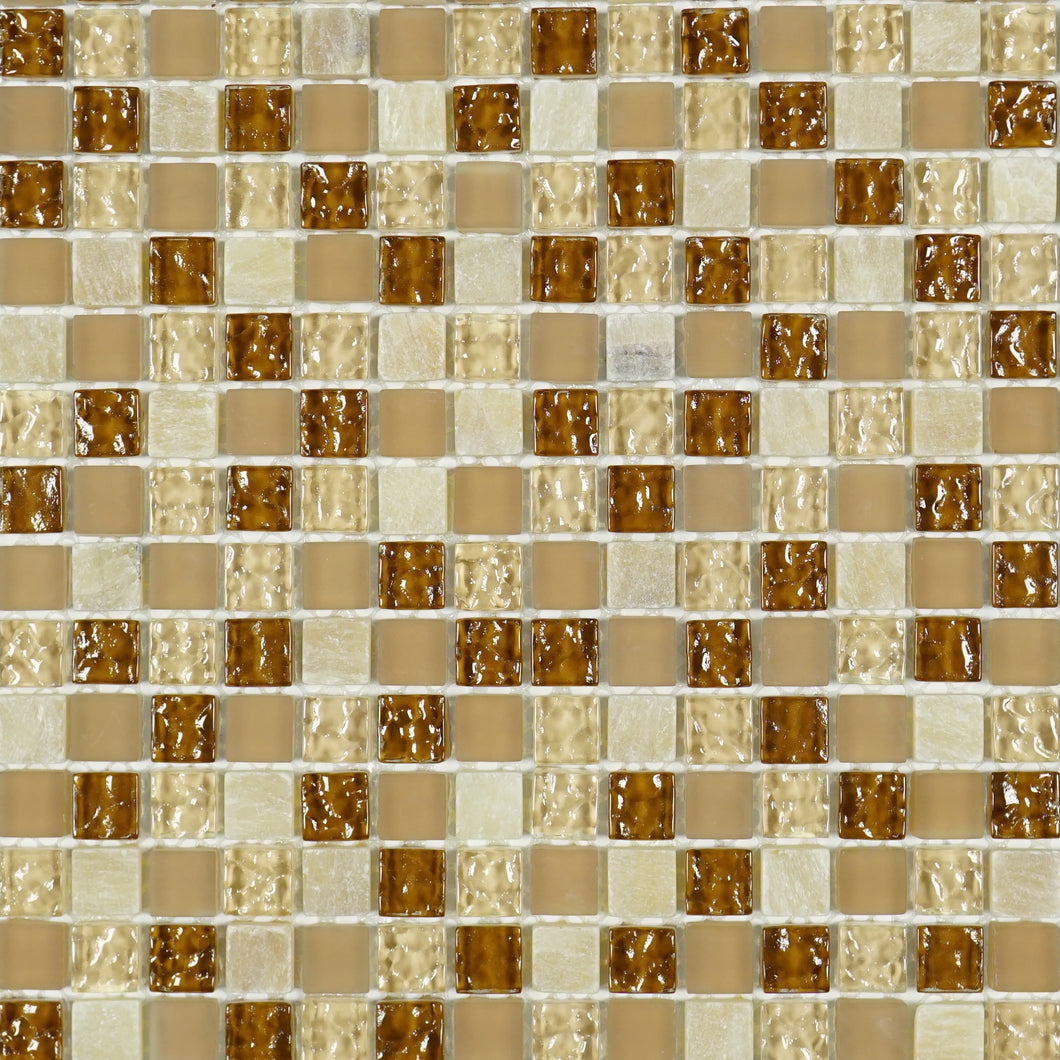 Tiny square caramel glass mosaic tile