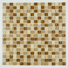 TFG-10 Mocha Honey Tiny Square Penny Tile Glass Mosaic Tile in Beige