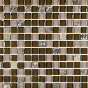 Tiny square Dark chocolate brown glass mosaic tile