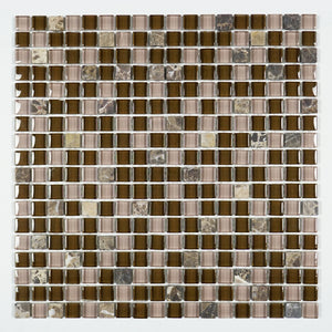 TFG-11 Dark Chocolate Tiny Square Penny Tile Glass Mosaic Tile in Brown