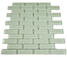 "THAG-15 1""x 3"" brick Greenish White glass mosaic tile sheet-kitchen and bath backsplash and wall and floor tile"