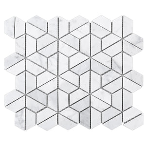 TTHUNG-01 White Carrara Hexagon Triangle shape Wheel Spin Marble Mosaic Tile