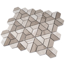 TTHUNG-02 Wooden Grey Hexagon Triangle shape Wheel Spin Marble Mosaic Tile