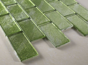 TKG-07 Apple Green Crest 2x4 glass mosaic tile subway tile