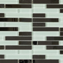 Stainless Steel & White Glass metal mosaic tile