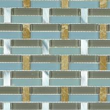 TMSG-07 Blue glass with stone and aluminum mosaic tile