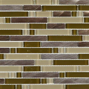 Brown glass and copper aluminum mosaic tile