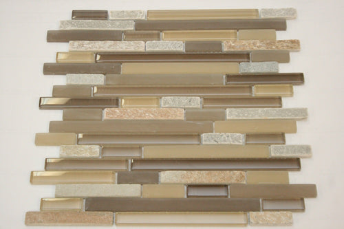 Beige Glass and stone mosaic tile