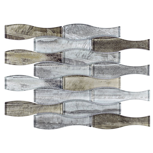 TTRKG-04 Brown and Silver Grey Vase Shape Glass Mosaic Tile Sheet