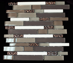 Brown and Grey Glass and stone mosaic tile