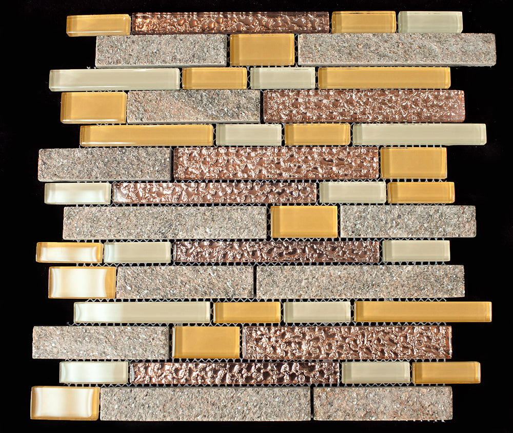 Yellow and brown glass and stone mosaic tile
