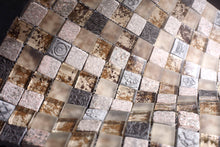 "TWG-02 Antique 1"" x 1"" Mixed Material Mosaic Tile in Beige Wall Tile"