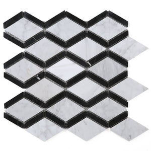 TWHCAG-05 Random Sized Marble Mosaic Tile In Black and White