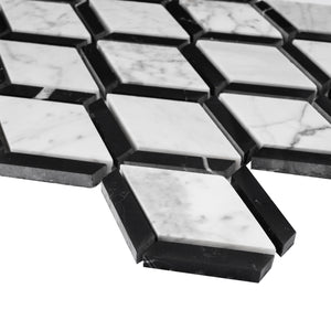 TWHCAG-06 Double Diamond Marble Mosaic Tile In Black and White