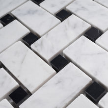TWHCAG-09 Basket Weave Marble Mosaic Tile In Black and White