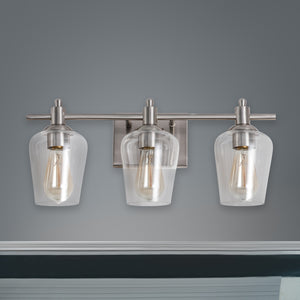 WL0001-3-02 3 Light Dimmable LED Vanity Light Modern Wall Sconces (Silver)