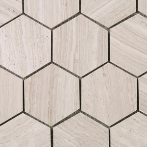 "TWOBEG-02 3"" Hexagon Wooden Beige Mosaic Tile Sheet"