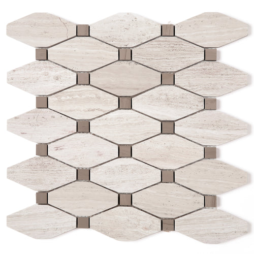 TWOBEG-07 Diamond Long Octagon Wooden Beige Marble Mosaic Tile