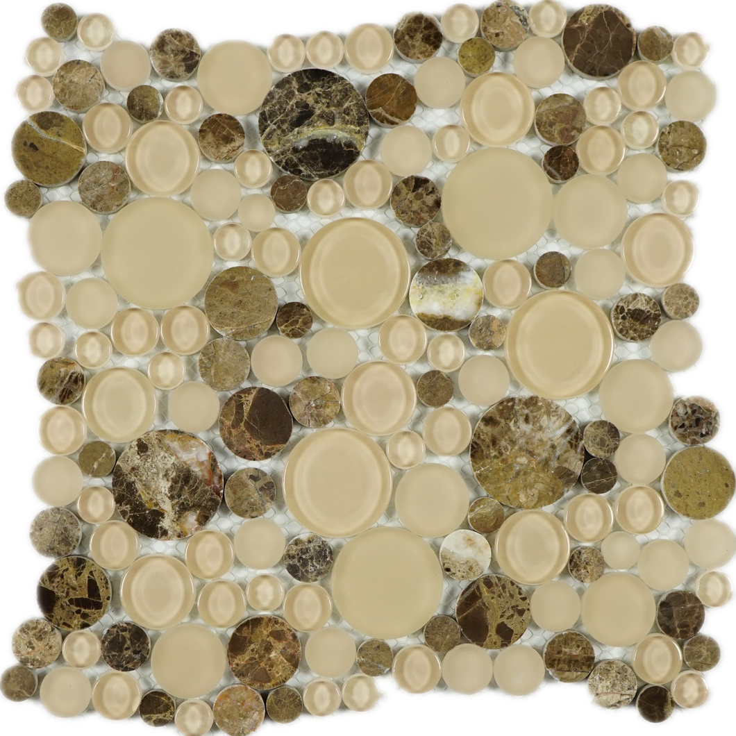 TWG-10 Beige and Brown random bubble in multi circle glass mosaic tile backsplash