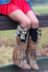 Cheetah Print bow socks light