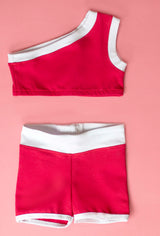 Cold Shoulder Crop and Shorts in Red Athletic Set