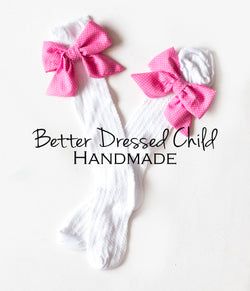 detachable bow socks, little girls socks, pink bow socks, little girls accesories, vintage inperation