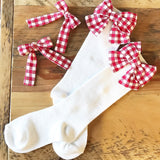Red check bows for socks (bows only)