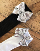 Out of this world silver Bows 4 Socks