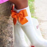 Shimmer Orange Bows 4 Socks