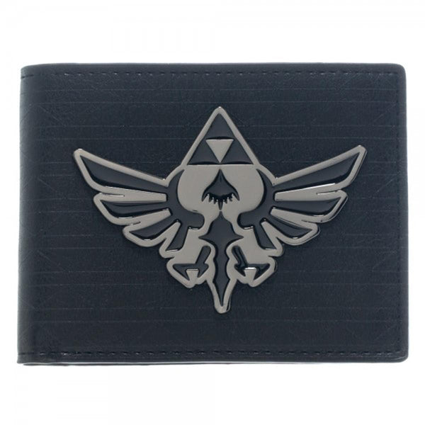 The Legend of Zelda Metal Hyrule Crest Logo Black Bi-Fold Wallet