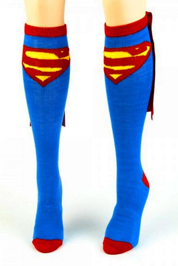 Superman Cape Blue Knee High Socks
