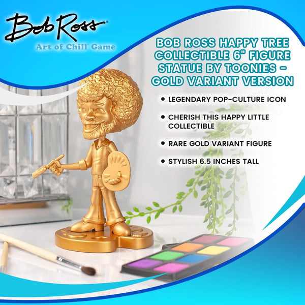 "Bob Ross Happy Tree Collectible 6"" Figure Statue by Toonies - Gold Variant Version"