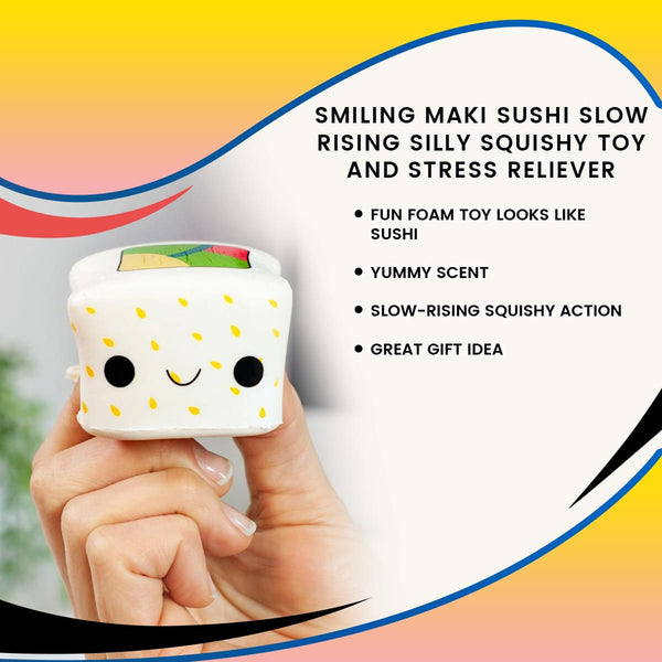 Smiling Maki Sushi Slow Rising Silly Squishy Toy and Stress Reliever