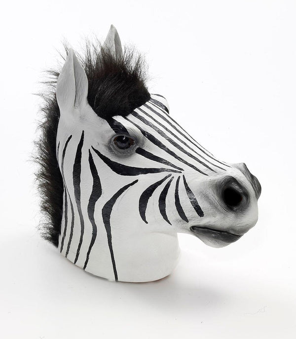Latex Animal Costume Mask Adult: Zebra One Size