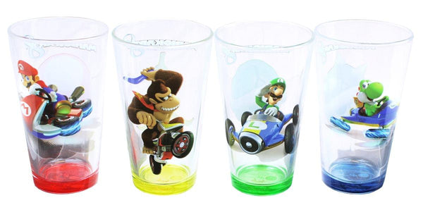 Mario Kart 16oz Character Pint Glasses, Set of 4