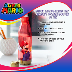 Super Mario Bros Red Plastic Water Bottle