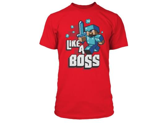 Minecraft Like A Boss Premium Red T-Shirt Youth X-Small