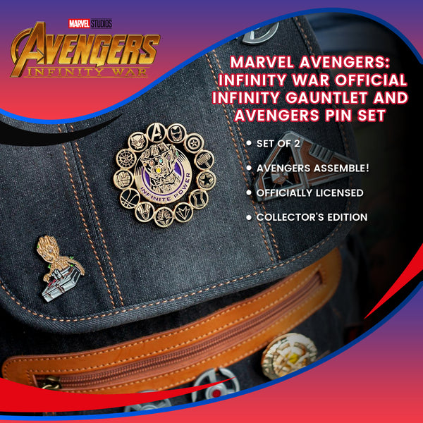 Marvel Avengers: Infinity War Official Infinity Gauntlet and Avengers Pin Set